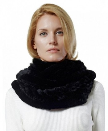 Women's Rex Rabbit Fur Infinity Scarf . - Black - CR124P83GA9