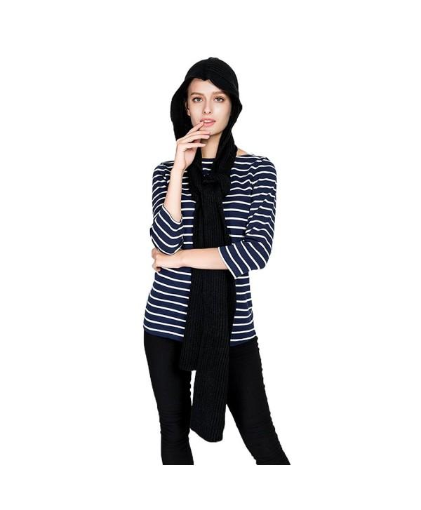 Vbiger Women Hooded Scarf Warm Knit Scarf Fashionable Shawl Wrap - Black - CM1879YKT20
