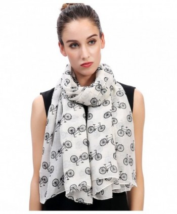 Lina & Lily Vintage Bicycles Bikes Print Women's Large Scarf Lightweight - white and black - CR11XT2GTHB