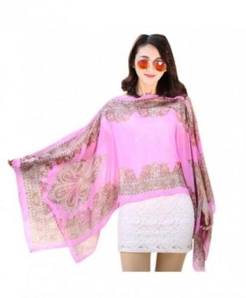 Binmer(TM) Women Fashion Chiffon Sunscreen Scarves Big Size Printed Silk Scarf - Pink - C912GHAGGOL