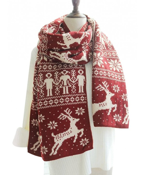 Kennedy Fashion Couple Warm Scarf Christmas Snowflake Elk Knitted Scarf Thicken Wrap Shawl - CJ186L4YL9E
