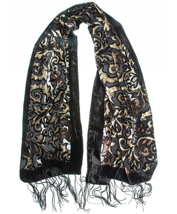 Bohomonde- Gia Scarf - Silk Brocade Print Velvet Burnout Scarf with Fringe Ends - Gold/Chocolate/Black - C412056F3WZ