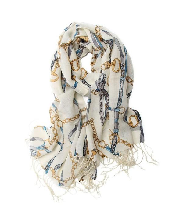 Scarfand Luxury 100% Real Wool Pashmina Wrap - Rope & Belt Ivory - CX11NHWZWX5