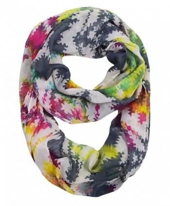 Peach Couture Vintage Womens Bohemian Design Infinity Loop Scarves - Chevron Rainbow - C0188I3HXUC