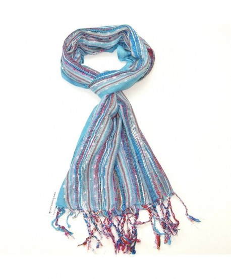 Lovarzi Women's Colourful Scarf - Versatile and dazzling scarf for women - Turquoise Blue - CT116MS07GD