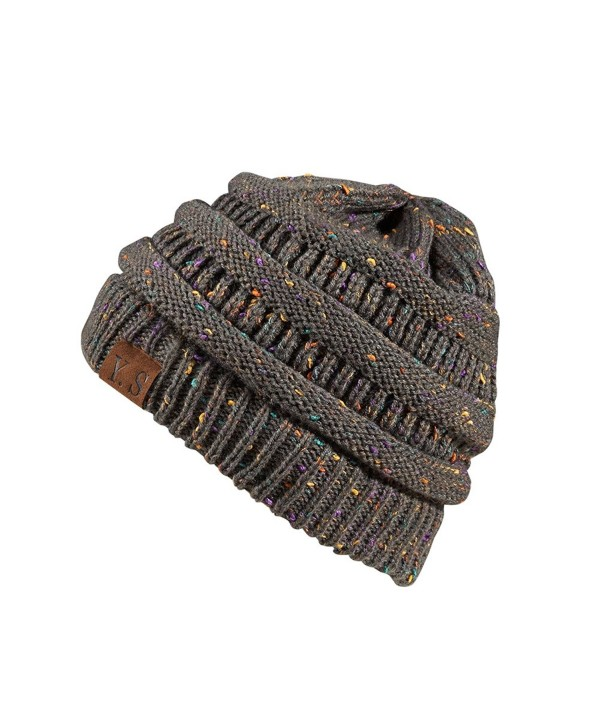 Trendy Slouchy Beanie Hat Unisex Soft Warm Oversized Chunky Cable Knit Thick Cap - A Confetti Charcoal Design - C3186W98L5Y