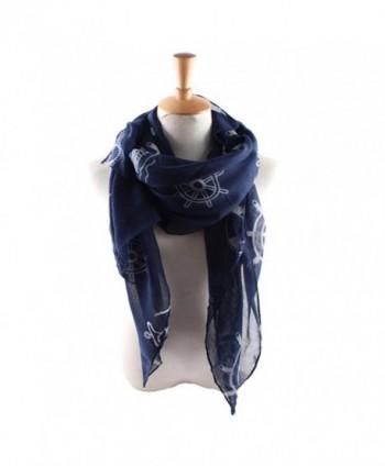 ctshow Fashion Lightweight Scarves Women's anchor Print Shawl Scarf - Navy Blue - C9182GWUT7Y