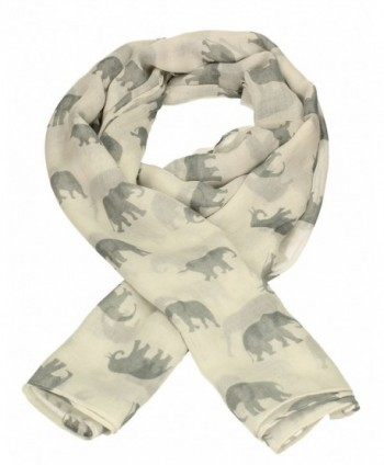 Elephant Print Womens Ladies Large Viscose Scarf Shawl Wrap - White - CK12NH02JOQ