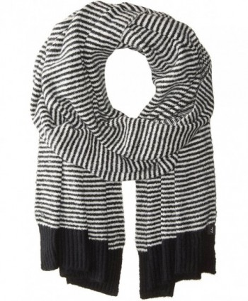 Echo Women's Soft Stretch Knit Mini Stripe Winter Scarf - Black - CR1827RZ0UU