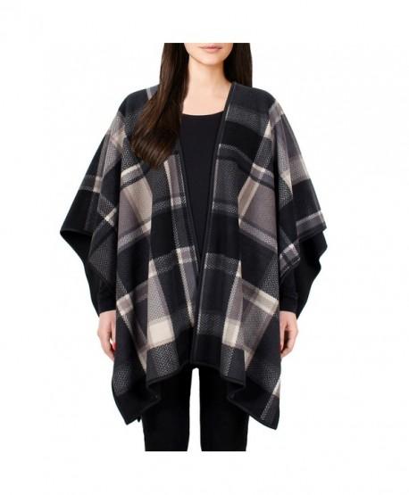 Ike Behar Ladies' Reversible Fashion Wrap - Taupe/Gray Plaid - CL12N0GE3Z5