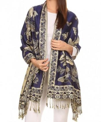 Sakkas Liua Long Wide Woven Patterned Design Multi Colored Pashmina Shawl / Scarf - Royal Blue - CF12L8VR08B