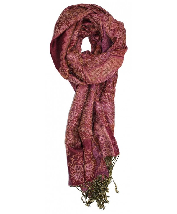 Ted and Jack - Luxe Classic Tapestry Reversible Pashmina - Burgundy - CT12OB07VD2