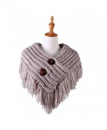 Cable Knit Button Collar Scarf With Fringe - Grey/Pink - CM186IION7C
