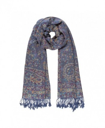 Melifluos Women Scarves Parsley Design Elegant Long Cashmere Feeling Thick Shawl - Blue - CZ12O5HLV1B