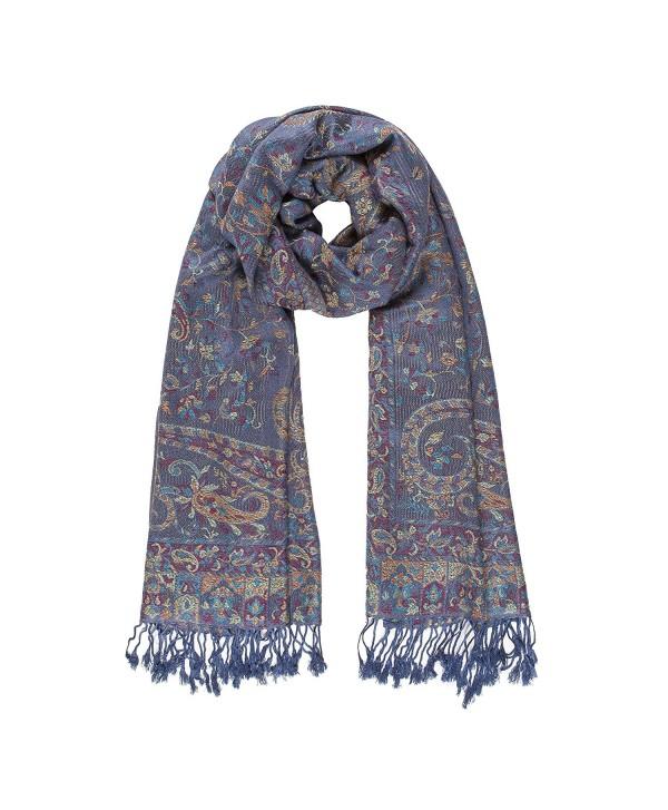 Melifluos Women Scarves Parsley Design Elegant Long Cashmere Feeling Thick Shawl - Blue - CZ12O5HLV1B
