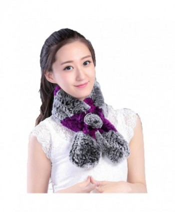 Venusfur Women's Knit Rabbit Fur Collar Winter Warm Scarf - Grey & Purple - CA12796RGGZ