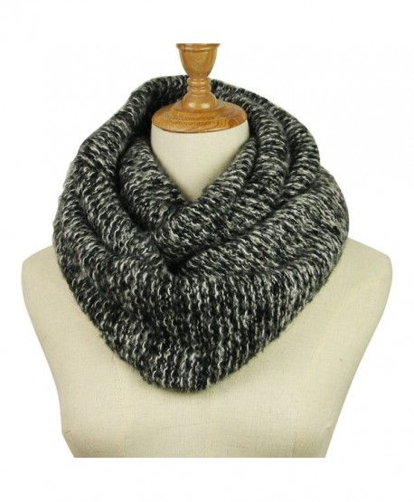 Knitted Infinity Scarf Winter Thick Warm Wrap Women Scarf Fashion Circle Loop Scarves - Black White - C9188NQAIM5