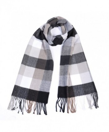 Winter Cashmere Cooling Lightweight Scarf for Women Mens Plaid Ladies Scarves - Black+beige - CG187CS95M6