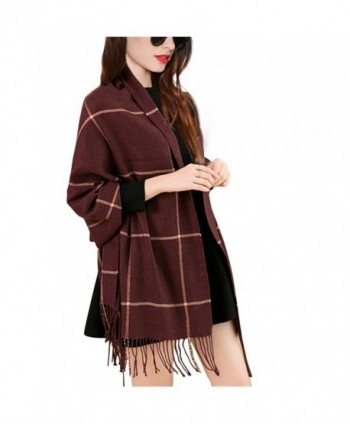 Wool Lattice Scarves for Women-Warm Blanket Scarf / Wrap Shawl with Tassels Unisex - Wine Red - CW1888CS0ON