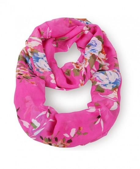 MissShorthair Fashion Women's Multicolor Floral Print Chiffon infinity Circle Scarf - Azalea - CQ11T0046HV