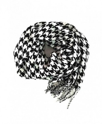 Fashion Secrets Plaid Cashmere Feel Soft Oblong Scarf Neck Wrap W Fringes Ends - Houndstooth Black - White - CZ12NU1VZ4Y