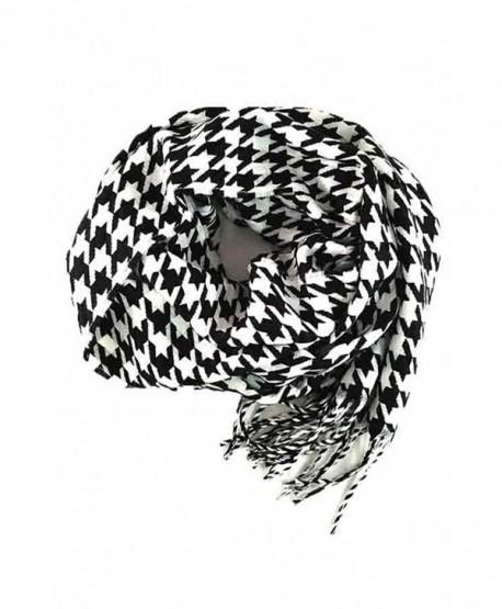 Fashion Secrets Plaid Cashmere Feel Soft Oblong Scarf Neck Wrap W Fringes Ends - Houndstooth Black - White - CZ12NU1VZ4Y
