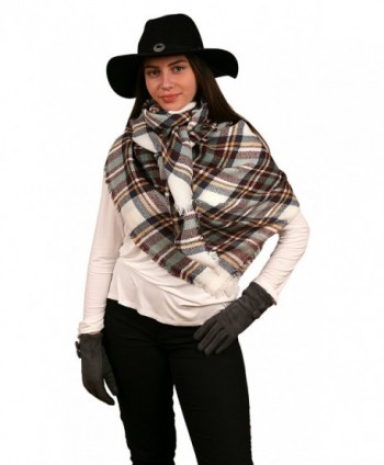 Women's Large Oversized Winter Big Square Tartan Plaid Blanket Wrap- Shawl- Scarf - Burgundy & White - C8187DWYNWW