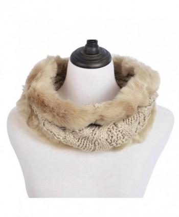 Premium Solid Color Winter Diamond Knit Faux Fur Trim Infinity Loop Circle Scarf - Brown - CP12N1GTX4R
