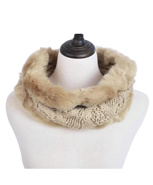 Premium Solid Color Winter Diamond Knit Faux Fur Trim Infinity Loop Circle Scarf - Brown - CP12N1GTX4R