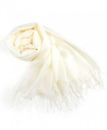 TopTie Scarf Wrap With Tassel Ends- Solid Color / Tow-Tone Color- Gift Idea - Cream - CS11J4TJRX1
