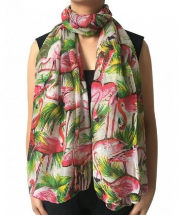 Lina & Lily Vintage Flamingo Print Women's Large Size Scarf Lightweight - White Background - CK11XTPIKVL