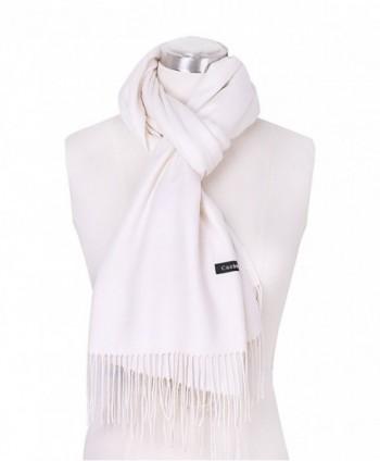 DRESSOLE Cashmere Pashmina Scarves Off white