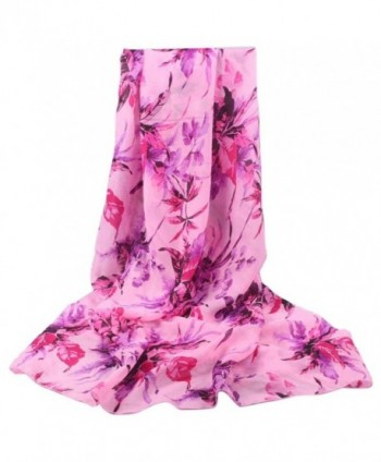 Sandistore Fashion Women Long Soft Wrap Leaves scarf Ladies Shawl Chiffon Leaf Scarf Scarves - Pink - C012K85U04J