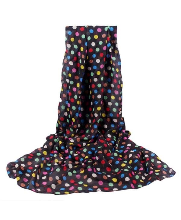 Tuscom Fashion Women Long Soft Wrap scarf Ladies Shawl Chiffon Scarf Scarves - Black - CI12NZMM9PM