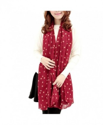 DZT1968 Long Soft Silk Chiffon Scarf Wrap Polka Dot Shawl For Women (Red) - C2127230IUL