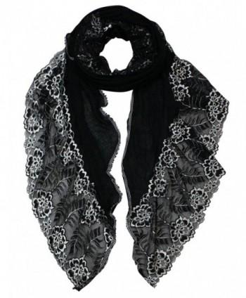 Dahlia Women's Fashion Scarf - Stylish Flowers Design - Lace Edge: Black - CT11CM9WRMN