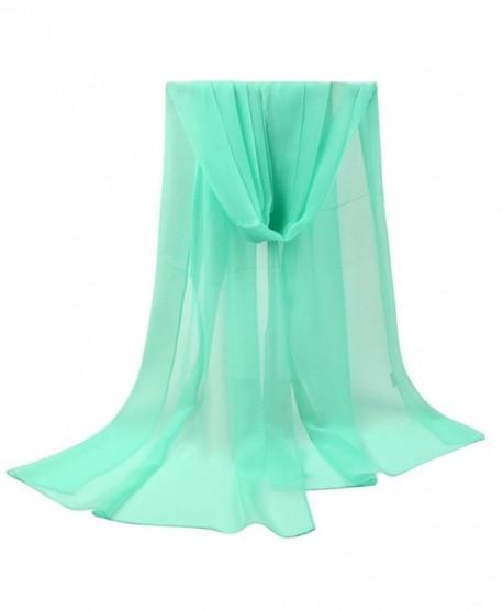 LEEZO Women Fashion Lightweight Chiffon Artistic Scarf Cover-ups Shawl Wrap F - Green - CN17YTC7S4I