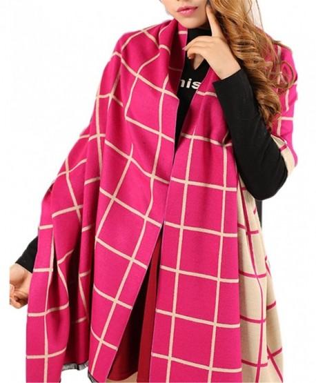 "Women's Soft Cashmere Wool Wraps Shawls Plaid Scarf Extra Large 78""x27"" (6 colors) - Color1 - CD12N6C1BSZ"
