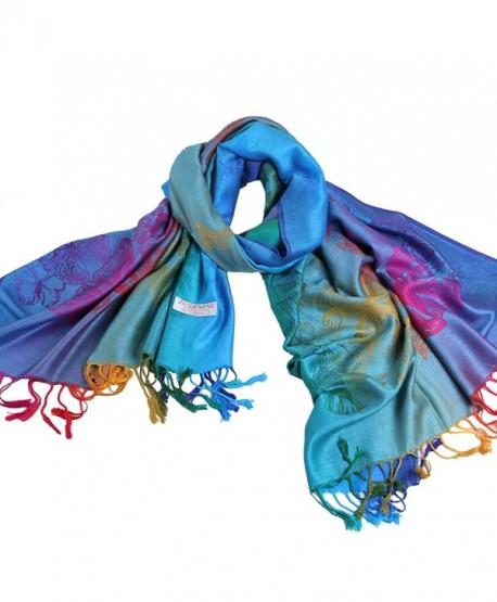 NOVAWO Women's Particular Rainbow Butterfly Print Scarf/ Shawl/ Wrap - Sky Blue - CI11ORWJL3V