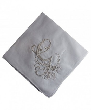 Wren Song HANDKERCHIEF - LADIES WHITE HANDKERCHIEF with Monogram 3 Pack - G - CG17YQOS64S