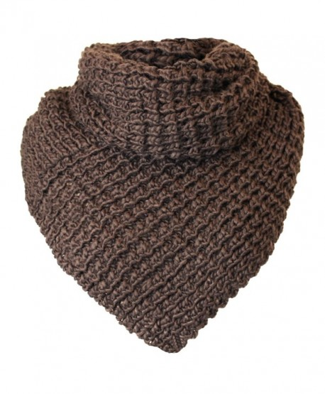 Chunky Knit Triangle Infinity Scarf - Brown - CA116XQTERH