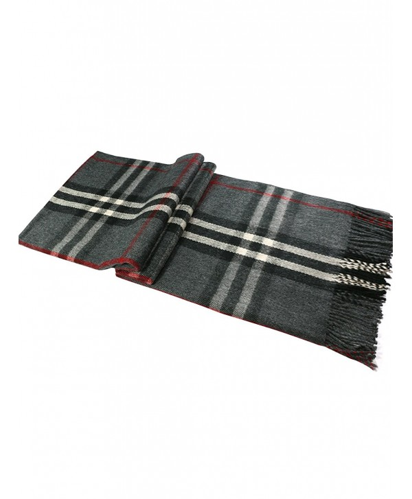 Choies Fashion Unisex Men And Women Scarf Shawl Plain Soft Long Head Scarves - Black-plaid - CK185Y2IECN