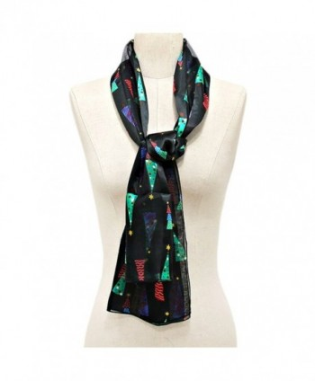 Christmas Tree - Christmas Scarf w/ Gift Box By Crown - Tree Black - C81284RGYLV