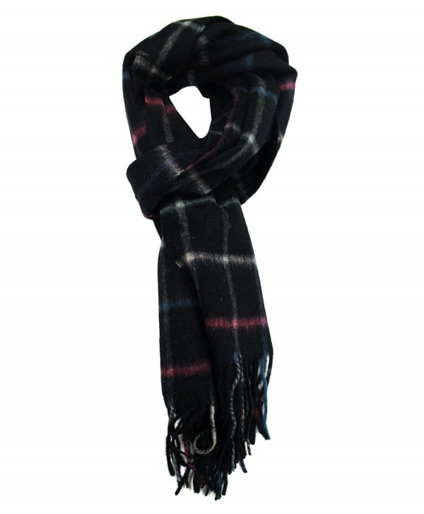 Modadorn Winter Sale Checkered Cashmere Feel Wool Fringe Scarf - Black - CD11D7FI2H5