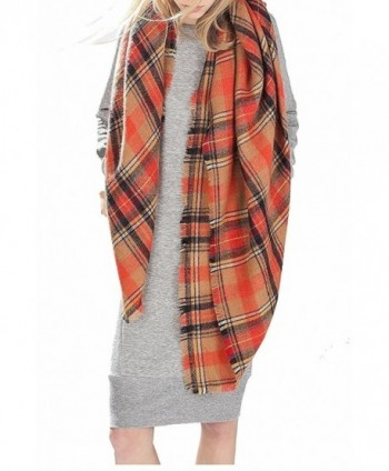 Achillea Women's Oversized Tartan Plaid Check Blanket Scarf Large Square Winter Warm Shawl Wrap - Camel Orange - CG186WCHUE3
