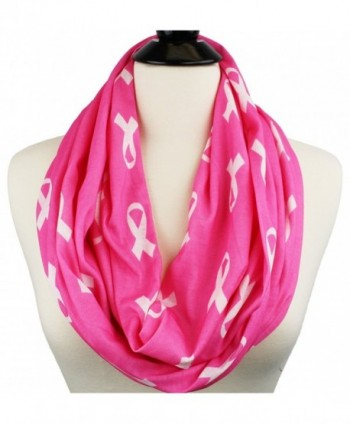 Breast Cancer Awareness Infinity Scarf with Ribbon Pattern and Hidden Zipper Pocket- Black Friday Deals - Pink - CW12O1FZVU9