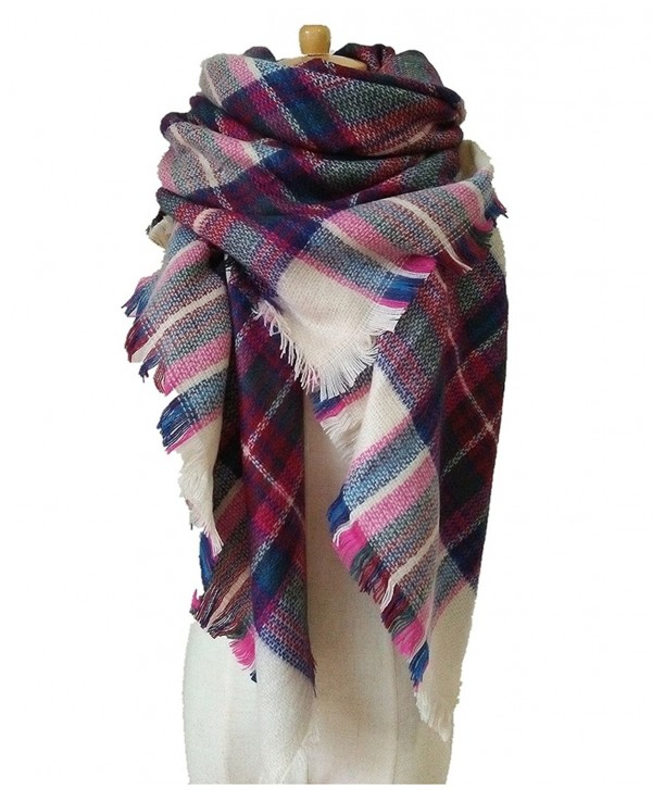 Selighting Women's Oversized Square Plaid Scarf Tartan Blanket Wrap Shawl - 9 Beige and Pink - CJ188GWCOCU