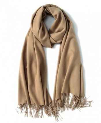 Womens Large Soft Cashmere Feel Pashmina Shawls Wraps Winter Light Scarf - Camel - CS1883U2OWL
