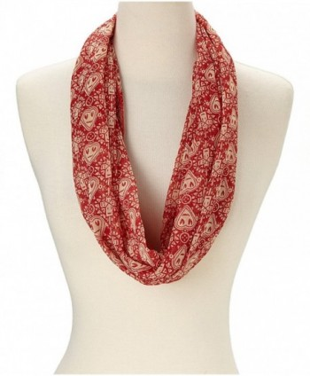 Amtal Lightweight Red & White Heart Design Chiffon Casual Infinity Scarf - CV11FQN7UCT