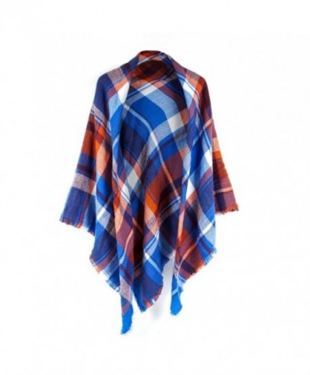 Women's Cozy Tartan Scarf Wrap Shawl Neck Stole Warm Plaid Checked Pashmina - Blue/Orange - CB186GUD6WX